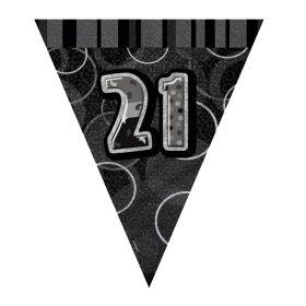 Black Glitz Age 21 Party Flag Banner 2.8m