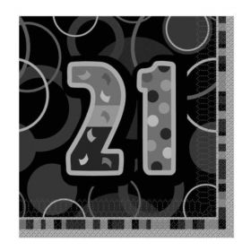 Black Glitz 21st Birthday Party Napkins 33cm x 33cm, pk16