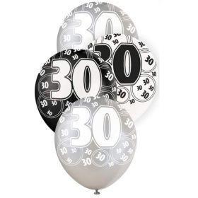 Black Glitz 30 All Over Print Party Balloons, pk6