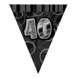 Black Glitz Age 40 Party Flag Banner 2.8m