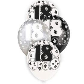 Black Glitz 18 All Over Print Party Balloons, pk6