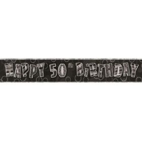 Black Age 50 Party Banners