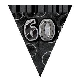 Black Glitz 60 Party Flag Banner 9ft