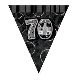 Black Glitz Age 70 Party Flag Banner 2.8m