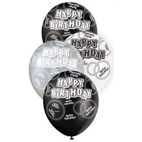 Black Age Happy Birthday Latex Balloons