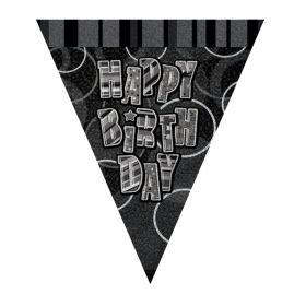 Black Glitz Happy Birthday Party Flag Banner 2.8m