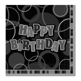 Black Glitz Happy Birthday Party Napkins