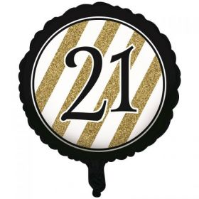 Black & Gold Age 21 Foil  Balloon
