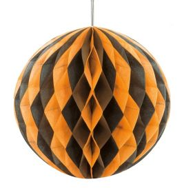 Black & Orange Honeycomb Ball Party Decoration 20cm