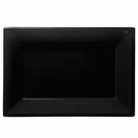 Black Plastic Serving Platters, pk3