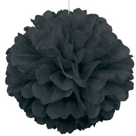 Black Paper Puff Ball Party Decoration 40cm