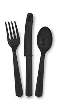 Black Re-usable Plastic Cutlery, Assorted 18 pack