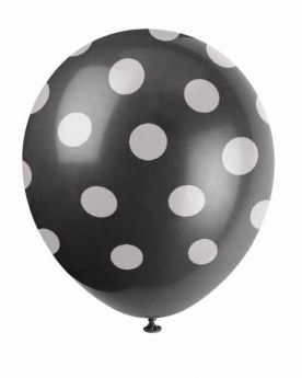 Midnight Black Polka Dot Party Balloons 6pk