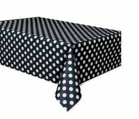 Midnight Black Polka Dot Party Tablecover