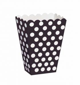 Midnight Black Polka Dot Party Treat Boxes 8pk
