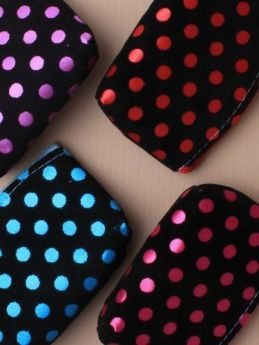 Black Flock Fabric Purse With Coloured Satin Spots & 4 small hair elastics