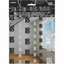 Black Glitz 18 Hanging String Party Decoration (6 Strings)