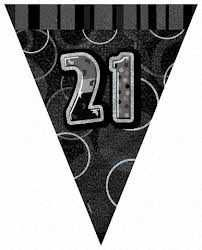 Black Glitz 21 Party Flag Banner