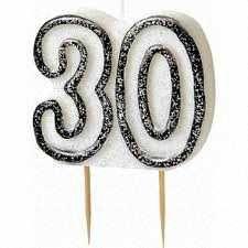 Black Glitz Party Candle 30