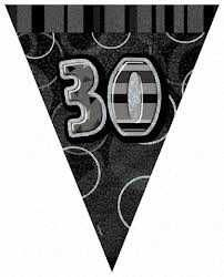 Black Glitz 30 Party Flag Banner