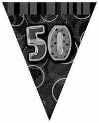Black Glitz 50 Flag Banner 9ft