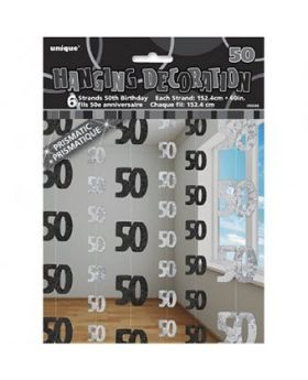 Black Glitz 50 Hanging String Party Decoration (6 Strings)