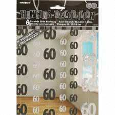Black Glitz 60 Hanging String Party Decoration (6 Strings)