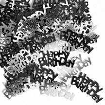 Black Glitz Happy Birthday Party Confetti