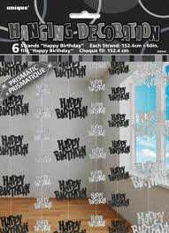 Black Glitz Happy Birthday Hanging String Party Decoration (6 Strings)