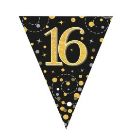 Black & Gold Dots Age 16 Flag Banner 4m