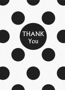 Midnight Black Polka Dot Party Thank You Cards 8pk