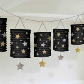 Black, Silver & Gold Lantern Garland, 12ft