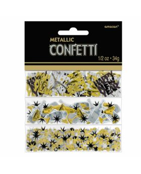 Black, Silver & Gold New Year Triple Pack Confetti - 31g