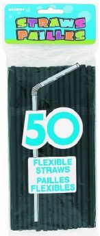 Black Flexible Straws 50pk