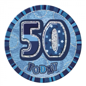 Blue Glitz Giant 50 Today Birthday Badge