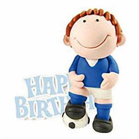 Blue Footballer Figure Cake Decoration