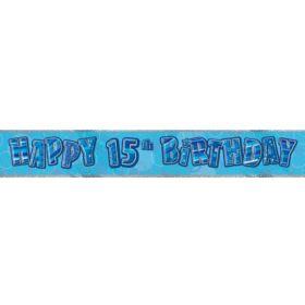 Blue Glitz Age 15 Prismatic Foil Banner 3.6m