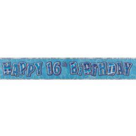 Blue Glitz Age 16 Prismatic Foil Banner 3.6m