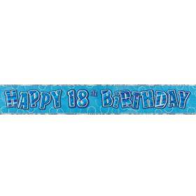 Blue Glitz Age 18 Prismatic Foil Banner 2.8m
