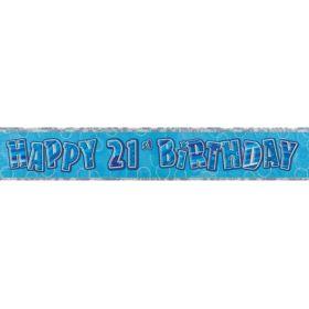 Blue Glitz Age 21 Prismatic Foil Banner 2.8m