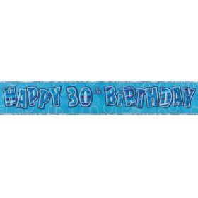 Blue Glitz Age 30 Prismatic Foil Banner 3.6m