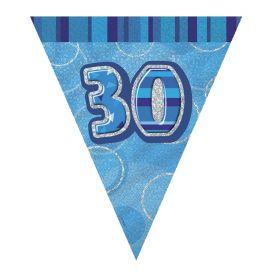 Blue Glitz Age 30 Party Flag Banner 2.8m