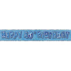 Blue Glitz Age 40 Prismatic Foil Banner 2.8m