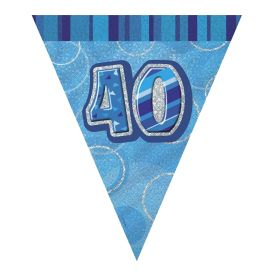 Blue Glitz Age 40 Party Flag Banner 2.8m