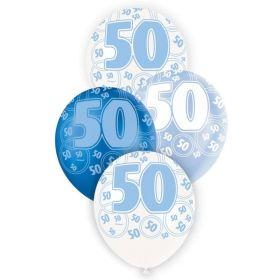 Blue Age 50 Latex Balloons