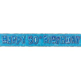 Blue Glitz 50 Prismatic 12ft Party Banner