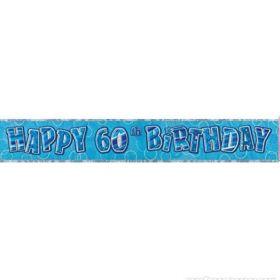 Blue Glitz Age 60 Prismatic Foil Banner 2.8m