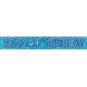 Blue Glitz Age 80 Prismatic Foil Banner 2.8m