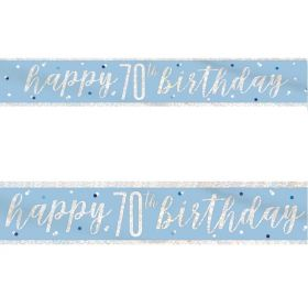 Glitz Blue 70th Birthday Foil Banner