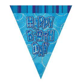 Blue Glitz Happy Birthday Party Flag Banner 9ft